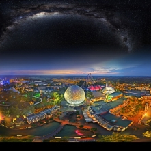 Panorama of Europa Park at night