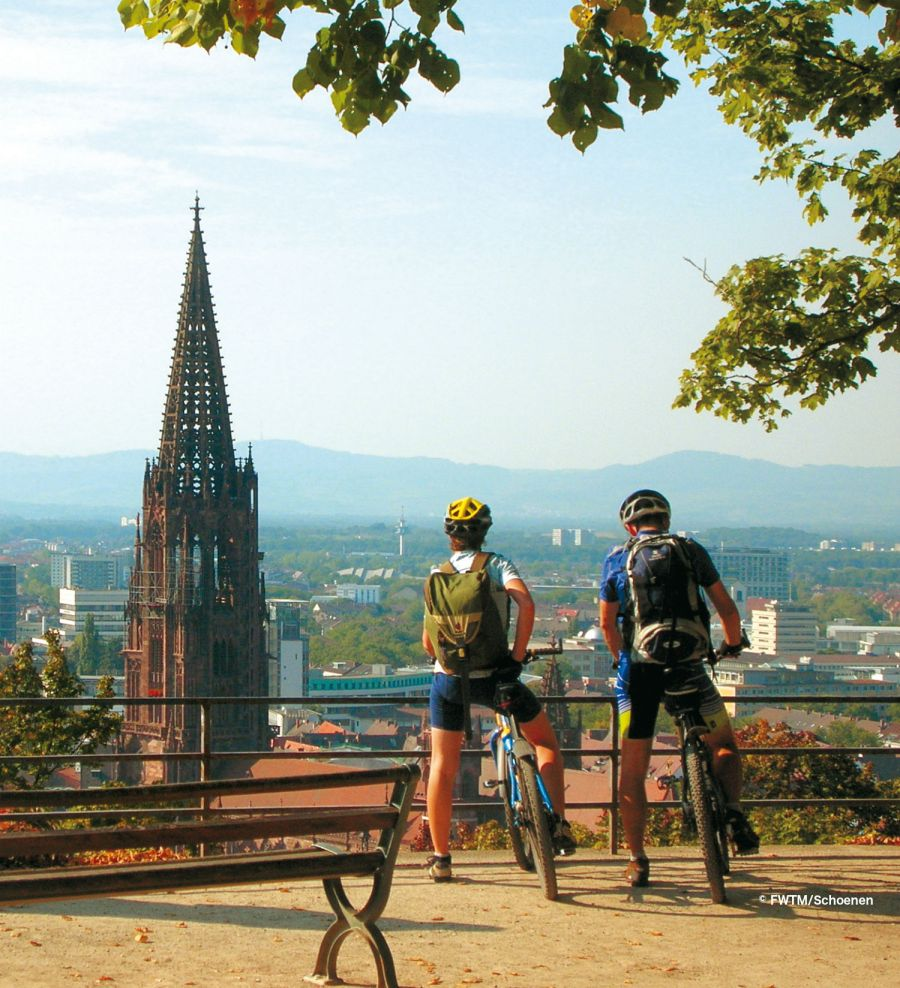 Bikers overlooking the Freiburg Cathedral